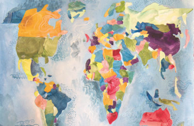 Illustration of a world map, with each country distinguished by a different colour, texture, or pattern.