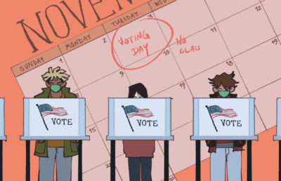 Illustration of three people at voting booths, with a background image of election day circled on a November calendar.