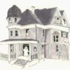 Illustration of an old, haunted house with ghosts visibly present at each opening into the house.