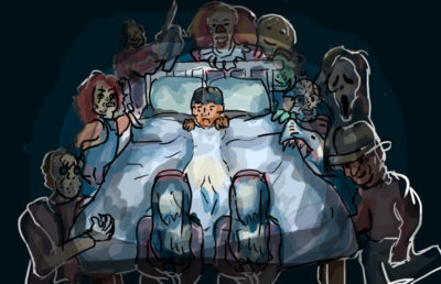 Illustration of someone laying in their bed, surrounded by scary movie characters.