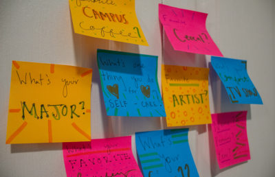 Photo of icebreakers on sticky notes