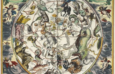 Photo of the constellations, with astrological signs of the zodiac.