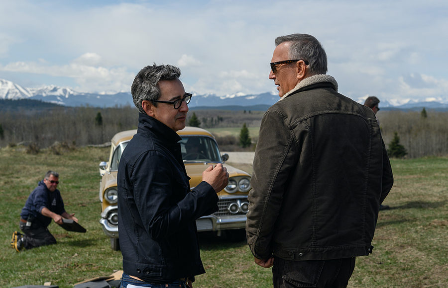 "Photo of Thomas Bezucha and Kevin Costner on the set of ""Let Him Go"""