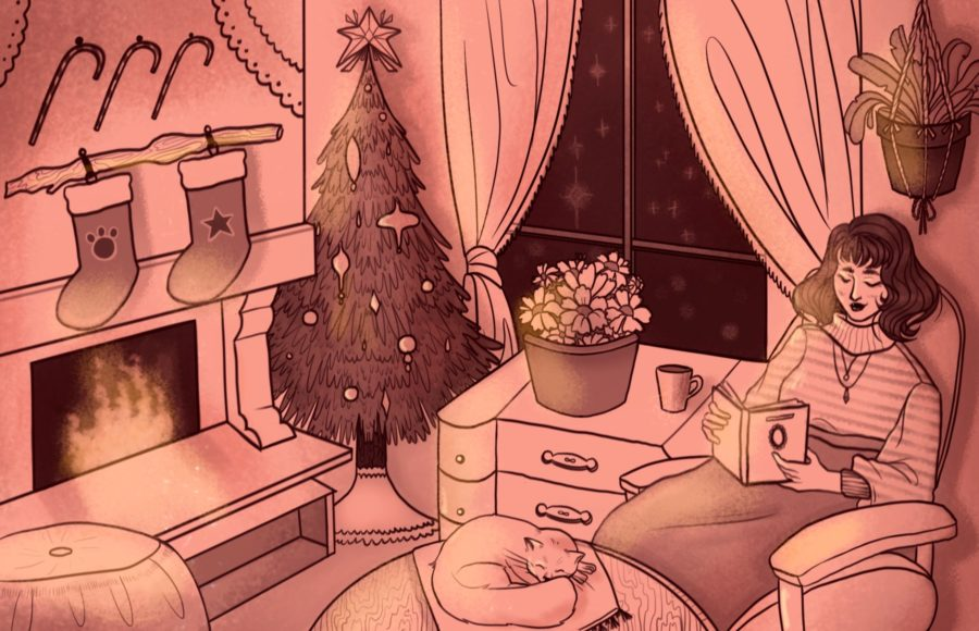 Illustration of a woman comfortably sitting in her home, with the fire on, surrounded by Christmas decor.