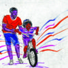 Illustration of a parent or guardian helping a child learn to ride a bike.