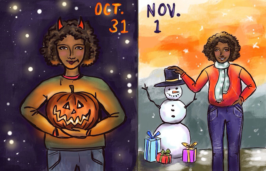 Illustration of a person celebrating Halloween on October 31st, then being festive for Christmas on November 1st.
