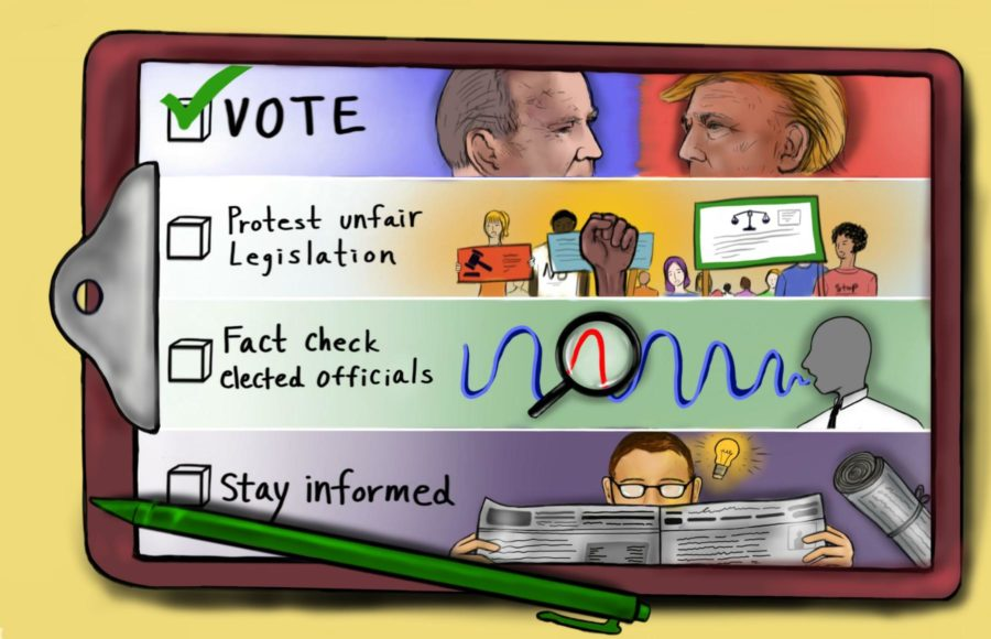 Illustration of a checklist with four tasks related to election information and civic engagement.