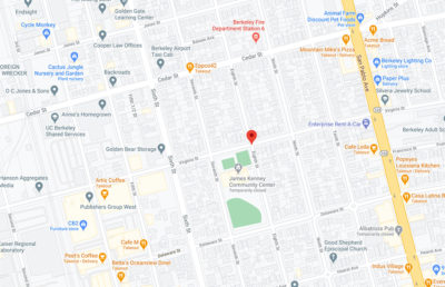 Google map screenshot of a marker at the intersection of Virginia and Eighth St