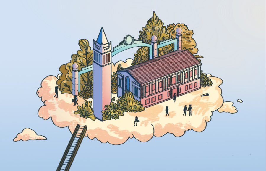 Illustration of a mini model of UC Berkeley landmarks, sitting on a cloud being accessed by a ladder.