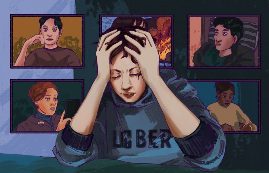Illustration of a person with their head in their hands, surrounded by a collage of stressed people contained by zoom squares.