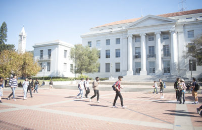 Photo of students walking on Sproul Plaza