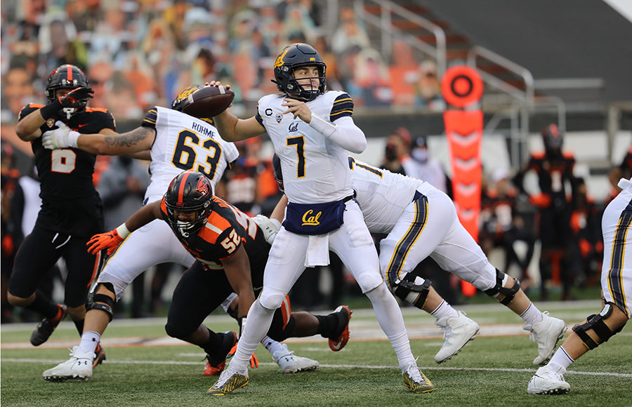 Photo of Chase Garbers throwing a football during the Cal vs. Oregon State game