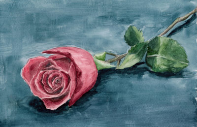Illustration of a solitary rose laying on a blue floor in a painterly style.