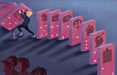Illustration of a student trying to prevent multiple school and money related domino symbols from toppling, all while being abandoned by a group.