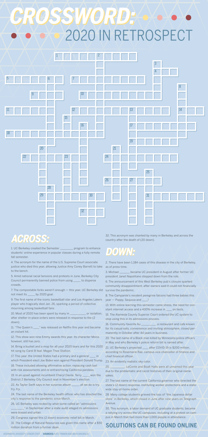 A 2020-themed crossword