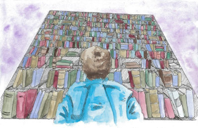 Illustration of a person looking up at a towering bookshelf