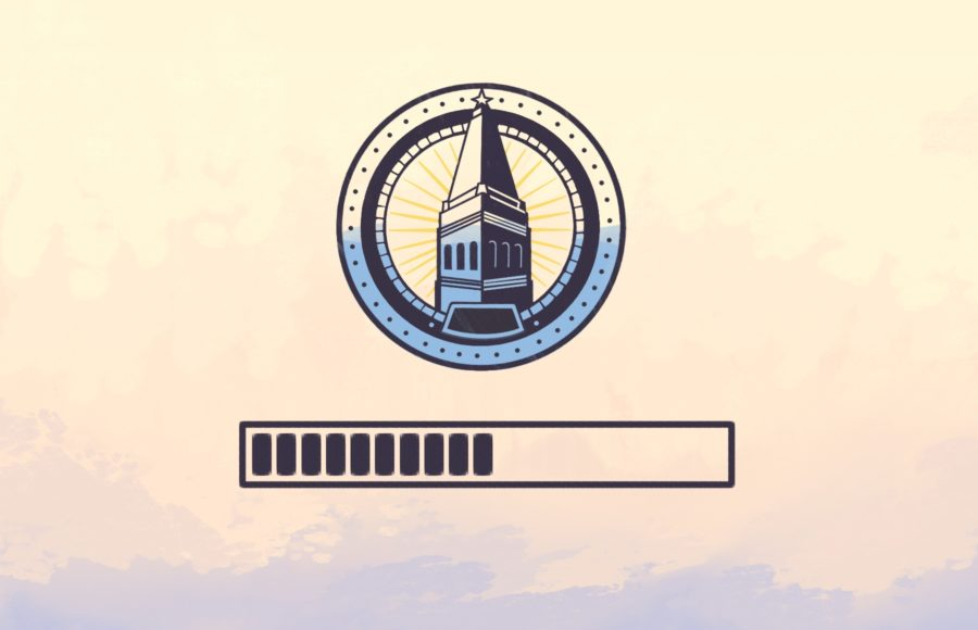 Illustration of the UC Berkeley ASUC Logo halfway loading it's blue colour above a half-full loading bar.