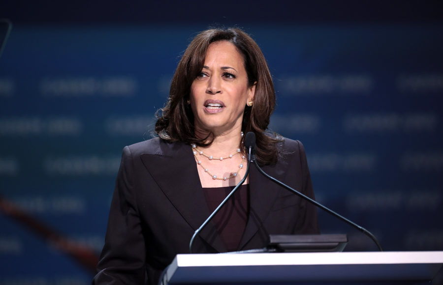 Photo of Kamala Harris speaking at a podium
