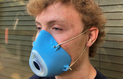 Photo of someone wearing a rechargeable N95 mask