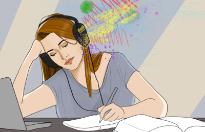 Illustration of a person working at a desk while listening to music, represented by vibrant colors