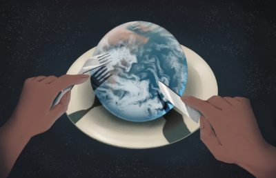 Illustration of the Earth on a dining plate, two hands above it holding a fork and knife as if about to cut into it