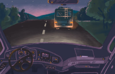 Illustration of an RV viewed from the front seat of a car behind it