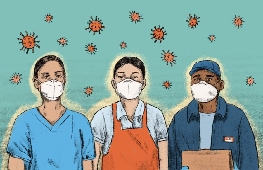 Illustration of frontline workers wearing masks to protect themselves from coronavirus particles