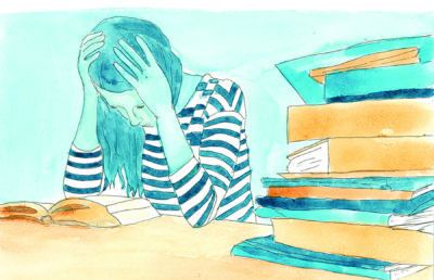 Illustration of a stressed student reading a textbook, a pile of books nearby