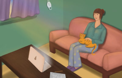 Illustration of a person in pajamas relaxing on their couch, with a cat on their lap, and working on a computer