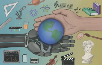 Illustration of a robotic hand and a human hand supporting the Earth, with depictions of STEM and humanities activities in the background