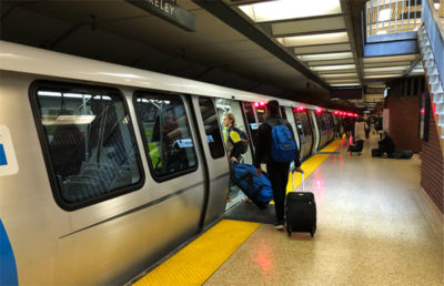 Photo of a BART train