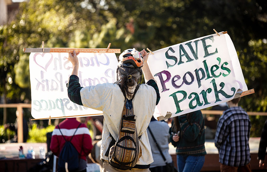 "Photo of someone holding a ""Save People's Park"" sign"