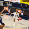 Photo of Jarred Hyder of Cal Men's Basketball passing the basketball