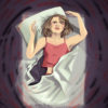 Illustration of a person lying in bed, surrounded by a swirl of dark thoughts and trying to push them away, by Aishwarya Jayadeep