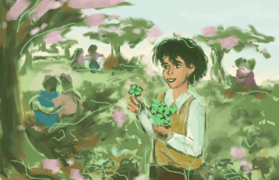 Illustration of a person picking a four leaf clover in a grassy meadow, while other couples sit in the distance