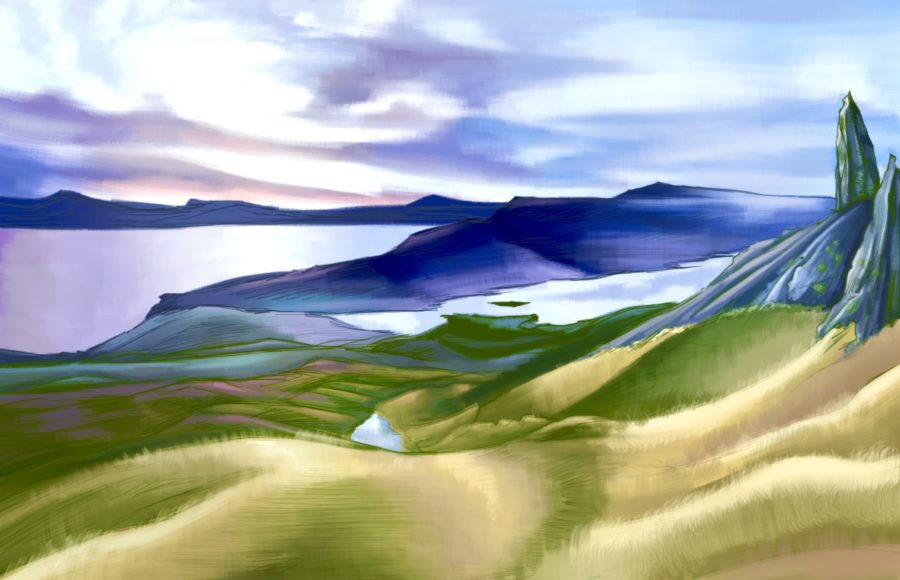 Illustration of the landscape of the Scottish islands