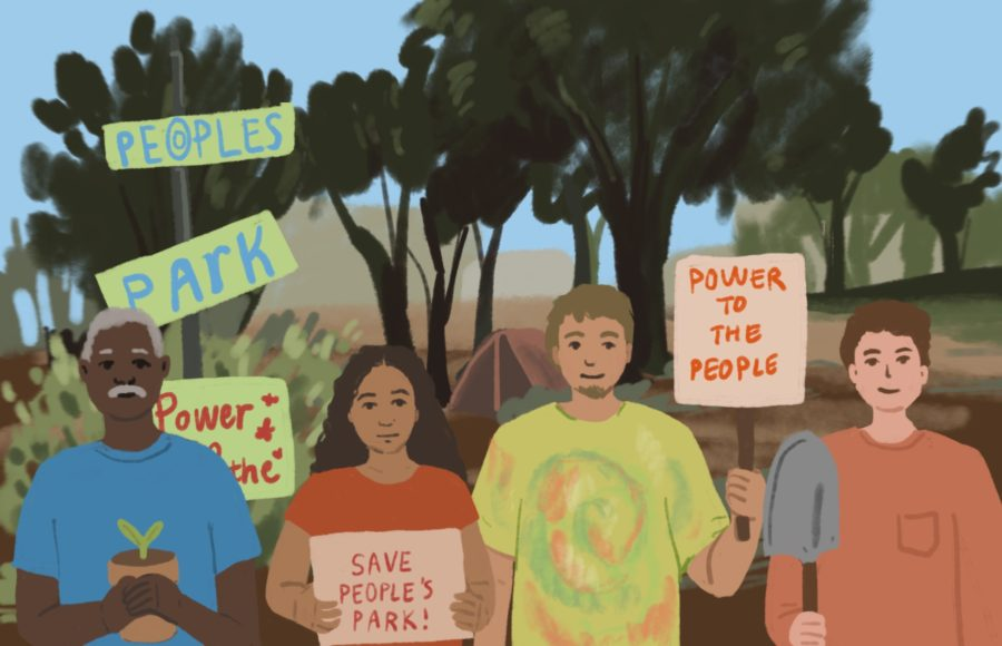 Illustration of a group of people in front of People's Park, holding up signs and tools in support of repairing the park