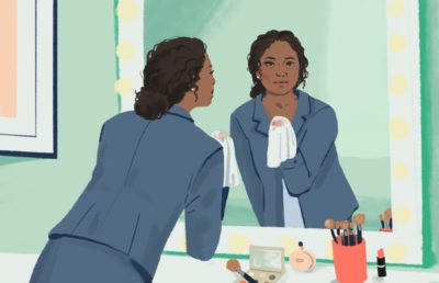 Illustration of a woman in a blazer leaning towards a mirror and wiping off her makeup