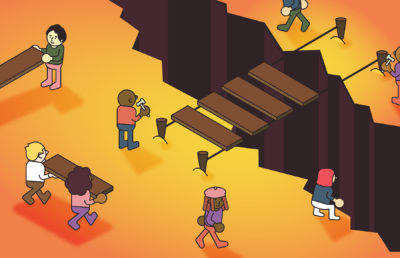 Illustration of a diverse group of people working to build a bridge crossing a deep chasm