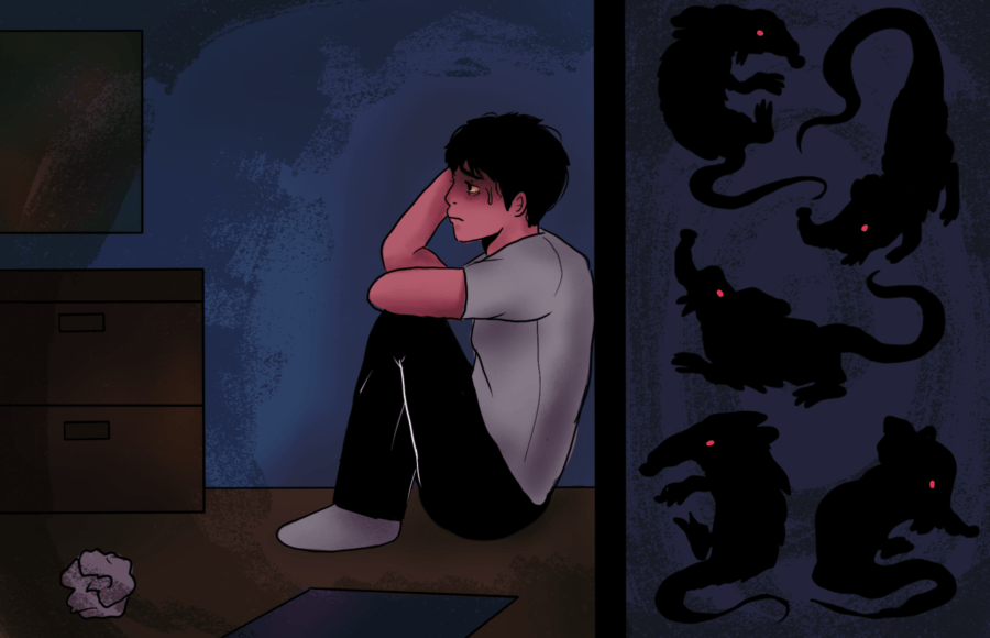Illustration of a person looking very stressed in their apartment while rats crawl around in the walls