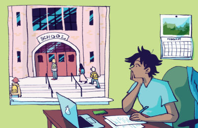 Illustration of a person working on schoolwork remotely, watching a small group of students outside their window enter a school building