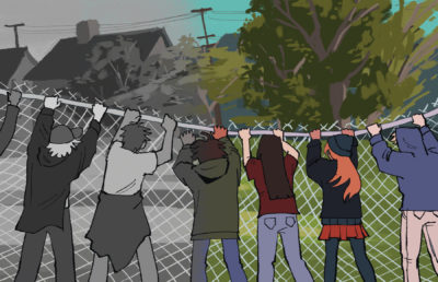 Illustration of two groups of people, one in black-and-white, tearing down fences in People's Park, representing protests past and present