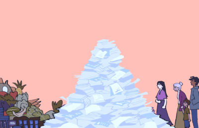 Illustration of people standing in line to buy food, blocked by an insurmountable pile of paperwork