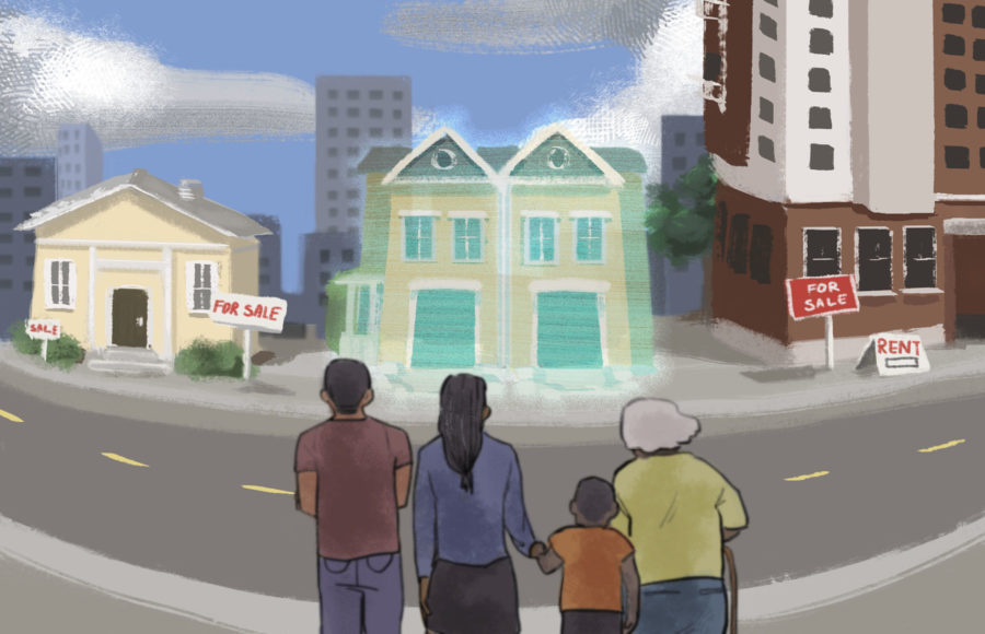 Illustration of a family looking across a street to some homes on sale, with a fourplex appearing to be the best option for them