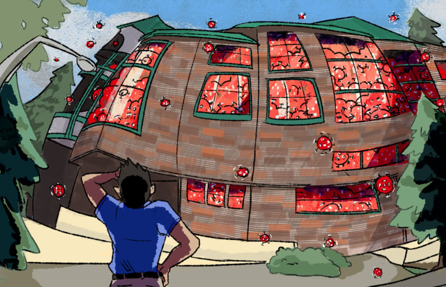 Illustration of UC Berkeley's Foothill housing swelling, as if about to burst, with coronavirus particles