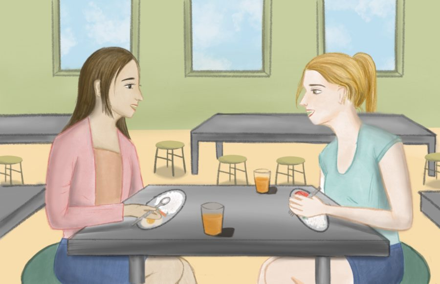 Illustration of two friends seated at a dining hall table and chatting