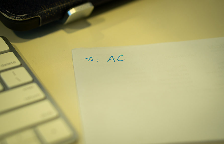 Photo of letter with initials AC