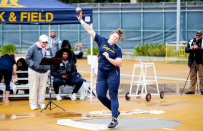 Photo of Krissy Smoot of Cal Track throwing hammer