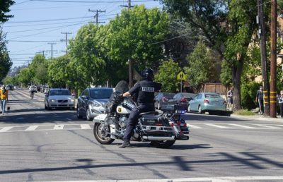 Photo of a police officer on a motorcycle