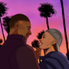 """Illustration of the main characters of the movie """"Love the One You're With,"""" two Black men with a colorful sunset in the background"""
